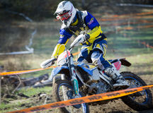 Enduro rider on his motorbike Stock Photography