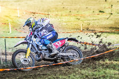 Enduro rider on his motorbike Royalty Free Stock Photo