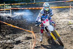 Enduro rider on his motorbike Royalty Free Stock Photos