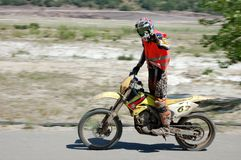 Enduro rider at motocross competition Royalty Free Stock Photography