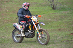 Enduro rider on track Royalty Free Stock Images