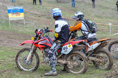 Enduro riders on track Stock Images