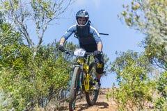 Enduro roweru górskiego jeźdza malejący ślad Obraz Stock