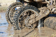 Enduro wheel in muddy track Royalty Free Stock Photos