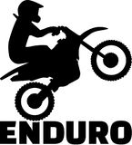 Enduro word and driver silhouette. Vector Stock Photography