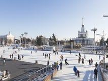 ENEA的圣诞节冬天滑冰场 免版税库存图片