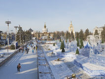 ENEA的圣诞节室外滑冰场 免版税库存图片