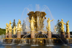 крупный план 'дружбы народов' фонтана, ENEA, Москва, Россия Стоковые Изображения RF