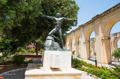 Enea statue in Lower Barrakka Gardens. Valletta, Malta - 25 May 2015: Enea statue in Lower Barrakka Gardens in Valletta in Malta Royalty Free Stock Photos