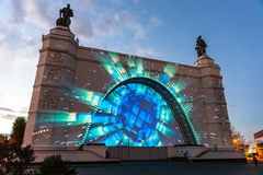 ENEA (VDNH) Międzynarodowy festiwal okrąg światło Fotografia Stock