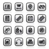 Enegreça ícones das peças e dos dispositivos de um computador do branco Imagem de Stock