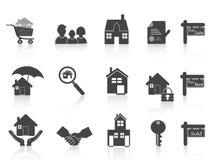 Enegreça o ícone dos bens imobiliários Foto de Stock