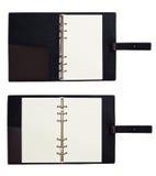 Enegreça o planificador de couro do copybook do bloco de notas do organizador Fotografia de Stock Royalty Free