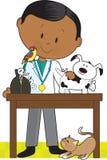 Enegreça o veterinário e os animais de estimação ilustração stock