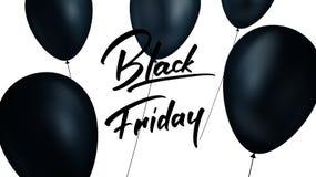 Enegreça sexta-feira Bandeira com os balões pretos realísticos e handlettering na moda Fundo da venda de Black Friday Imagens de Stock Royalty Free
