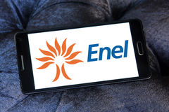 Enel energy company logo. Logo of energy and home services company enel on samsung mobile phone a5 stock photos