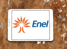 Enel logo. Logo of energy and home services company enel on samsung tablet on wooden background stock photo