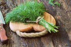 Eneldo orgánico fresco para encendido la tabla de cortar de madera puesta cocinero con el cuchillo Fotos de archivo