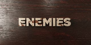 Enemies - grungy wooden headline on Maple  - 3D rendered royalty free stock image Royalty Free Stock Images