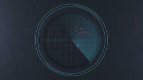 Enemigos de la alarma de seguridad que se acercan en el escáner del radar metrajes