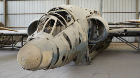 Enemy military aircraft wreckage in world war two Stock Image