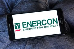 Enercon wind turbine manufacturer logo. Logo of Enercon company on samsung mobile. Enercon nis the fourth largest wind turbine manufacturer in the world Royalty Free Stock Images