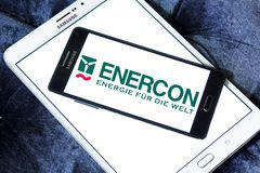 Enercon wind turbine manufacturer logo. Logo of Enercon company on samsung mobile. Enercon nis the fourth largest wind turbine manufacturer in the world Royalty Free Stock Photos
