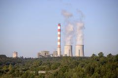 Energía, central nuclear, planeta de la contaminación Imagen de archivo