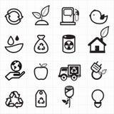 Energía de Eco, iconos verdes Imágenes de archivo libres de regalías