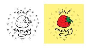Energía de la muchacha Diseño divertido de la impresión de la camiseta de los niños Plantilla monocromática y coloreada del vecto ilustración del vector