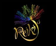 Energía de Reiki logotipo Energía curativa Flor del arco iris de las palmas del hombre Medicina alternativa espiritual ilustración del vector