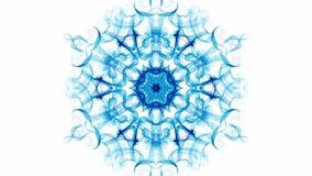 Energía del aire de la mandala, mandala viva con el ritmo de la respiración, modelos del fractal en el fondo blanco almacen de metraje de vídeo