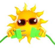 energía del verde de 3d Sun Imagenes de archivo
