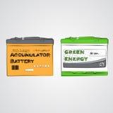 Energía del verde de la batería del acumulador Foto de archivo