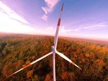 Energía eólica de la energía eólica de turbinas de viento de la turbina de viento Fotografía de archivo