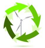Energía eólica del molino de viento ilustración del vector