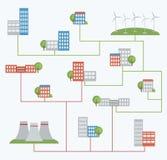 Energía eólica en vez de la energía atómica Imágenes de archivo libres de regalías