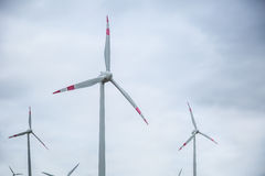 Energía eólica Molinoes de viento en la salida del sol Energía eléctrica Varias turbinas de viento en la producción de energía Imágenes de archivo libres de regalías