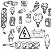Energía e iconos eléctricos Imagen de archivo