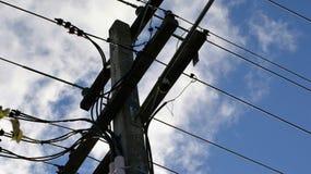 Energía eléctrica poste Fotografía de archivo libre de regalías