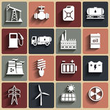 Energía, electricidad, iconos del vector del poder fijados Imagen de archivo