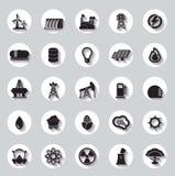 Energía, electricidad, muestras de los iconos del poder y símbolos Imagenes de archivo