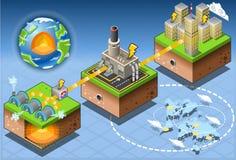 Energía geotérmica isométrica de Infographic que cosecha el diagrama