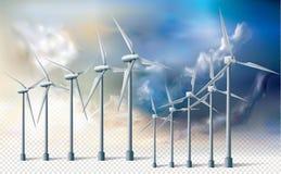 Energía limpia de la ecología de los turbogeneradores del viento Imagen de archivo