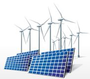 Energía limpia de la ecología de los turbogeneradores del viento Fotos de archivo