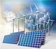 Energía limpia de la ecología de los turbogeneradores del viento Imágenes de archivo libres de regalías