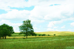 Energía limpia, energía eólica Foto de archivo