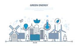 Energía natural, recursos respetuosos del medio ambiente y tratamiento cuidadoso de ellos libre illustration