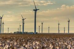 Energía renovable - turbinas de viento con los campos del algodón en el foreg fotografía de archivo libre de regalías