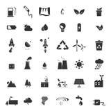 Energía renovable, verde, eco, iconos creativos del diseño fijados Imagen de archivo libre de regalías